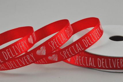 55102 - 10mm Red Satin Special Delivery Heart Ribbon x 10 Metre Rolls!