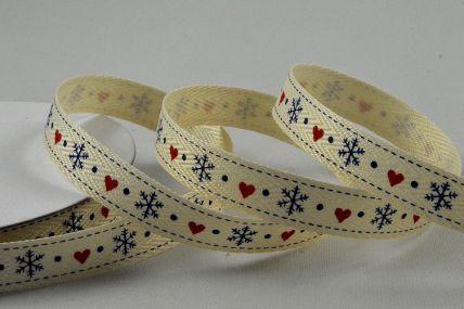 55103 - 10mm Herringbone Heart & Snowflake Christmas Ribbon x 10 Metre Rolls!