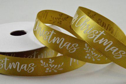55104 - 15mm Gold Merry Christmas Satin Printed Ribbon x 10 Metre Rolls!