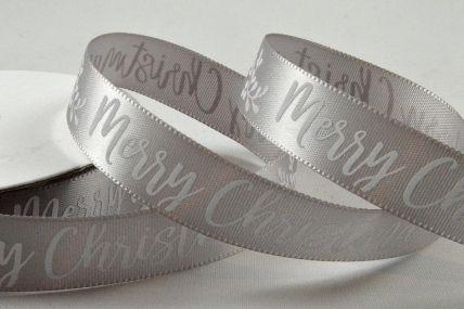 55104 - 15mm Silver Merry Christmas Satin Printed Ribbon x 10 Metre Rolls!