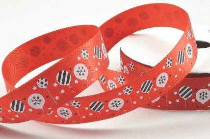 55106 - 15mm Red Satin Merry Christmas Baubles Ribbon x 10 Metre Rolls!