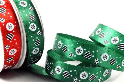 55106 - 15mm Satin Merry Christmas Baubles Ribbon x 10 Metre Rolls!