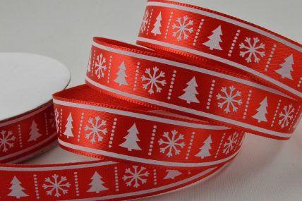 55107 - 15mm Red Christmas Tree & Snowflake Printed Ribbon x 10 Metre Rolls!