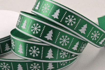 55107 - 15mm Green Christmas Tree & Snowflake Printed Ribbon x 10 Metre Rolls!