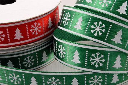 55107 - 15mm Satin Christmas Tree & Snowflake Printed Ribbon x 10 Metre Rolls!