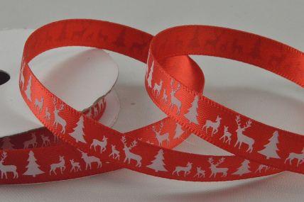 55111 - 10mm Red Reindeer & Christmas Trees Printed Ribbon x 10 Metre Rolls!