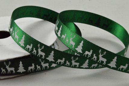 55111 - 10mm Green Reindeer & Christmas Trees Printed Ribbon x 10 Metre Rolls!