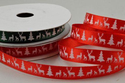 55111 - 10mm Reindeer & Christmas Trees Printed Ribbon x 10 Metre Rolls!