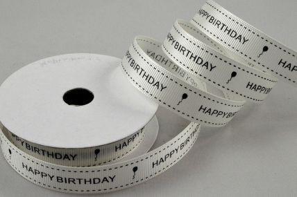 55112 - 16mm Cream & Black Grosgrain Happy Birthday Printed Ribbon x 10 Metre Rolls!