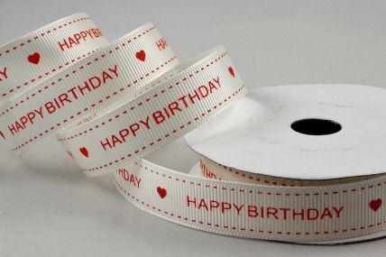 55113 - 16mm Cream & Red Grosgrain Happy Birthday Printed Ribbon x 10 Metre Rolls!