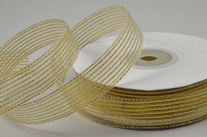 55114 - 25mm Gold Striped Lurex Ribbon x 20 Metre Rolls!