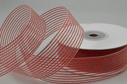 55114 - 40mm Red Striped Lurex Ribbon x 20 Metre Rolls!