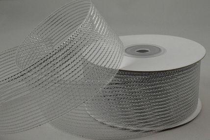 55114 - 25mm Silver Striped Lurex Ribbon x 20 Metre Rolls!