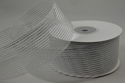 55114 - 40mm Silver Striped Lurex Ribbon x 20 Metre Rolls!