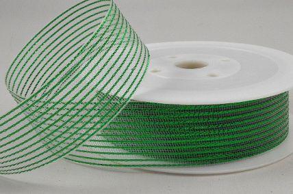 55114 - 15mm Green Striped Lurex Ribbon x 20 Metre Rolls!
