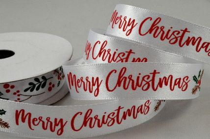 55115  - 15mm White Merry Christmas Holly & Berries Ribbon x 10 Metre Rolls!
