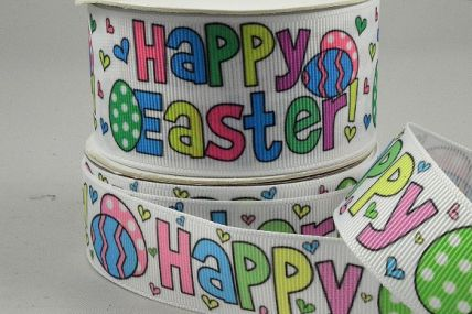 55118-25mm/38mm White grosgrain with a Multi Colour Happy Easter message x 10mts