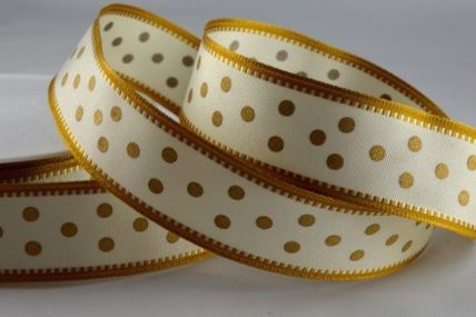 25mm Cream & Gold Wired Spotted Ribbon x 20 Metre Rolls!