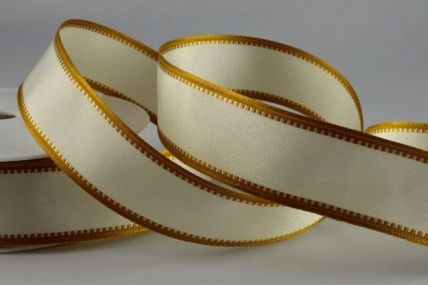 25mm & 40mm Cream & Gold Wired Coloured Fancy Edge Ribbons x 20 Metre Rolls!