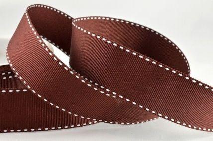 25mm Brown & White Stitched Edge Grosgrain Ribbon x 20/100 Metre Rolls!