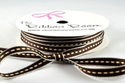 6mm Brown Thin Centre Stitched Ribbon x 20 Metre Rolls!!-Brown