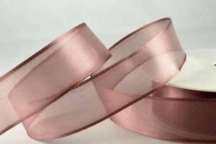 25mm, 40mm & 70mm Brown Wired Sheer Organza Ribbon x 25 metre rolls!