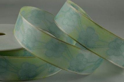 25mm & 40mm Green & Blue Wired Flower Printed Ribbon x 20 Metre Rolls!