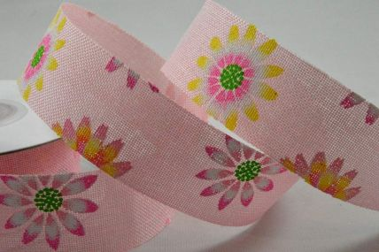 25mm & 38mm Baby Pink Flower Printed Ribbon x 10 Metre Rolls!