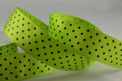 22mm Green Spotted Grosgrain Ribbon x 20 Metres!