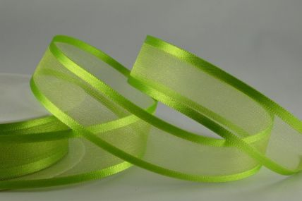 10mm, 15mm, 25mm & 40mm Light Green Satin Sheer Ribbon x 25 Metre Rolls!