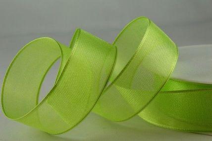 25mm Pale Green Wired Sheer Organza Ribbon x 25 metre rolls!