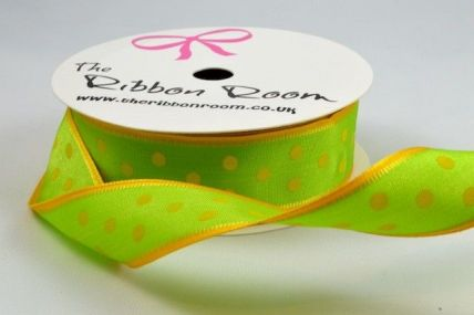 25mm Green Wired Spotted Ribbon x 4 Metre Rolls!!