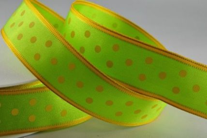 25mm Green Wired Spotted Ribbon x 20 Metre Rolls!