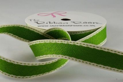 16mm Green Patterned Side Stitch Ribbon x 4 Metre Rolls!