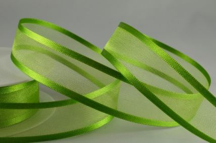 10mm, 15mm, 25mm & 40mm Green Satin Sheer Ribbon x 25 Metre Rolls!