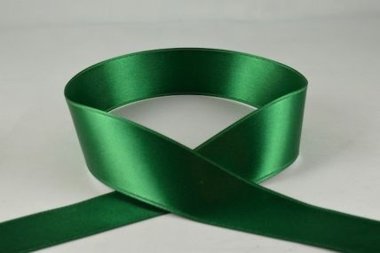 3mm, 7mm, 10mm, 15mm, 25mm, 38mm & 50mm Emerald Green Double Sided Satin Rolls