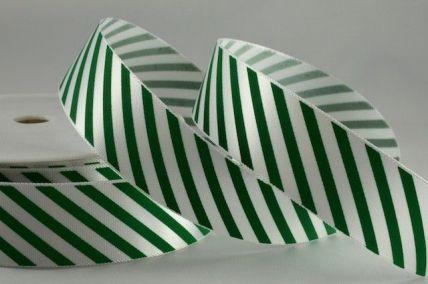 25 & 38mm Green Candy Stripe Ribbon x 20 or 100 Metre Rolls!