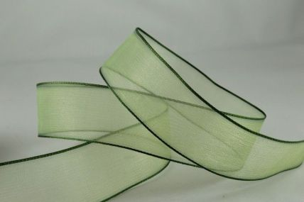 25mm & 40mm Dark Olive Wired Sheer Edged Ribbon x 25 Metre Rolls!!
