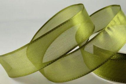 25mm & 70mm Wired Dark Green Sheer Organza Ribbon x 25 metre rolls!