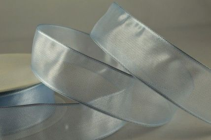 40mm & 70mm Light Blue Wired Sheer Organza Ribbon x 25 metre rolls!