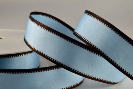 25mm Blue & Brown Wired Coloured Fancy Edge Ribbons x 20 Metre Rolls!!