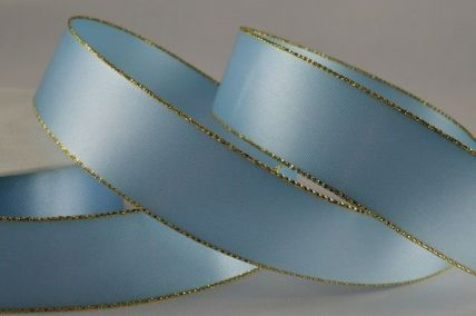 3mm, 7mm, 15mm, 25mm & 38mm Baby Blue Satin with Lurex Edge x 20 Metre Rolls!!
