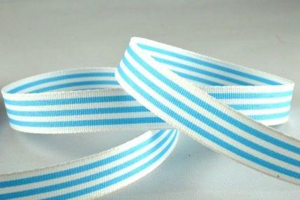 15mm Baby Blue Modern Candy Stripes Ribbon x 20 Metre Rolls!