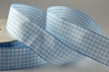 5mm, 10mm & 25mm Baby Blue Gingham Ribbon x 25 Metre Rolls!
