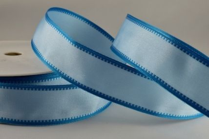 25mm Baby Blue Fancy Edged Wired Ribbon x 3 Metre Rolls!!