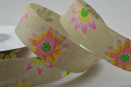 25mm & 38mm Natural Flower Printed Ribbon x 10 Metre Rolls!