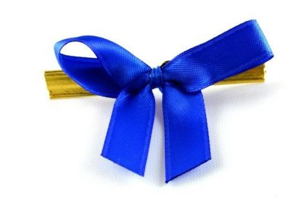 10mm Royal Blue Mini Bows with Twist Ties (100 Pieces)