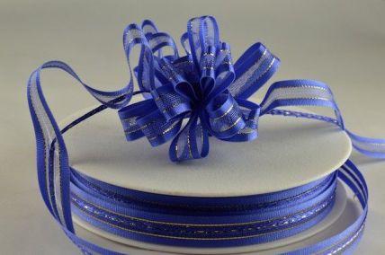 34007 - 10mm Royal Blue Fasbo Sheer Pull Bow Ribbon x 25 Metre Rolls!