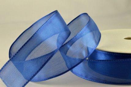 40mm & 70mm Blue Wired Sheer Organza Ribbon x 25 metre rolls!