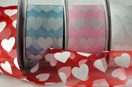 77007 - 38mm Coloured Sheer with Printed Hearts x  20 Metre Rolls!!